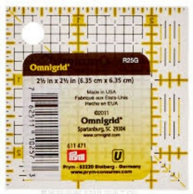 2.1/2-INCH x 2.1/2-INCH OMNIGRID SQUARE TEMPLATE RULER PATCHWORK QUILTING bnew