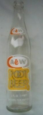 Vintage A&W Root Beer 16oz 11 Inch Bottle Return for Refund - FREE SHIPPING