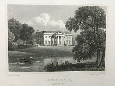 1831 Antique Print; Broadlands, near Romsey, Hampshire after Neale