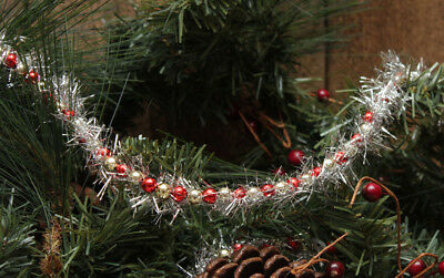 9ft Garland -- Red & Gold Beads w/ SILVER Tinsel -- Great for Feather Trees