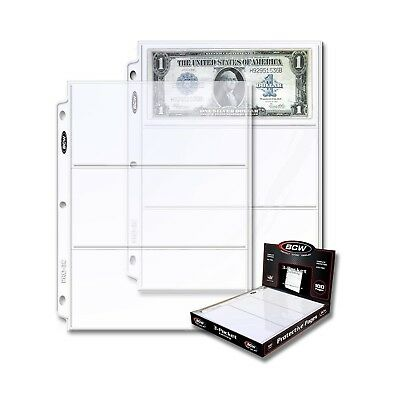 New BCW 3-Pocket Currency and Coupon Size Binder Pages, 100-Count Box ORIGINAL