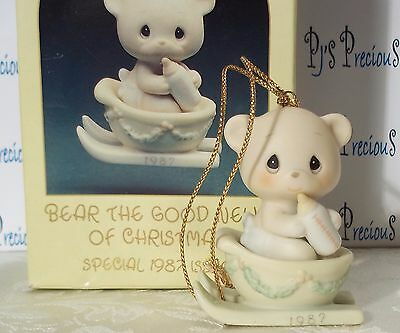 "Precious Moments Ornament ""Bear The Good News Of Christmas"" Dated Annual 1987"