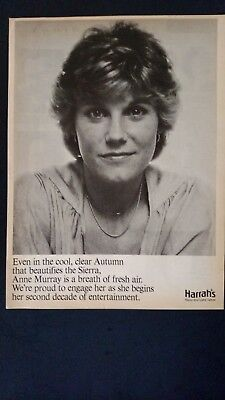 ANNE MURRAY-Harrah's Thanks Her 1979 Original Promo Poster Ad