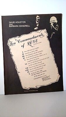 DAVID HOUSTON & BARBARA MANDRELL Ten Commandments Of Love 1974 Promo Poster Ad