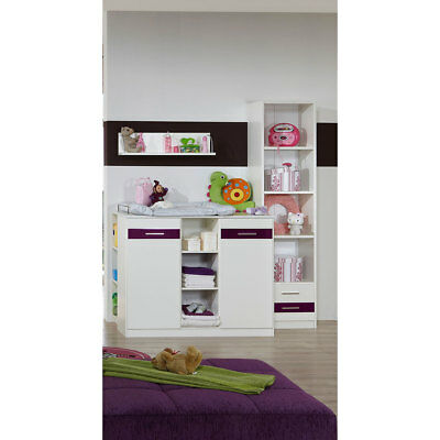 BABYZIMMER SET Wickelkommode Wickeltisch Kommode Regal Wandboard WEIß BROMBEER