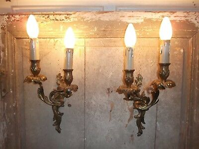 French a pair of  antique patina bronze wall light sconces nicely detail