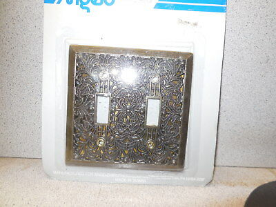 Vintage Looking Antique Brass Double Light Switch Plate Outlet Cover Combo