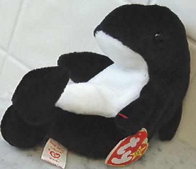 TY Retired Beanie Baby Waves Orca Killer Whale 1996 w/ tags Ty