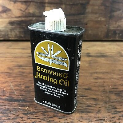 Rare Vintage Browning Honing Oil 4Oz Handy Tin Can Knife Oil Sign