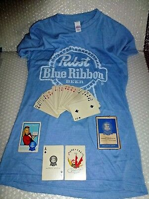 pABST BLUE RIBBON BEER VINTAGE PLAYING CARDS & T-SHIRT TULTEX MED NEW neocurio