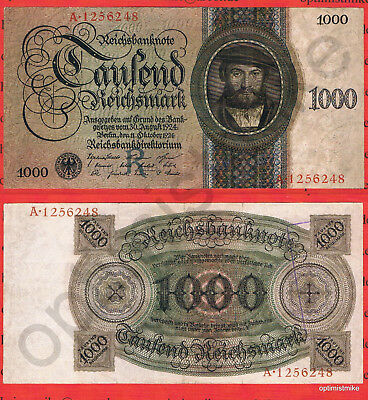 1000 Mark VF 1924 Germany Ros.172 a Pick 179 Selten