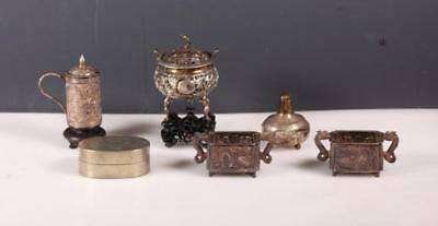 Five Chinese Silver Pieces; Ink Box, 2 Stands Lot 215