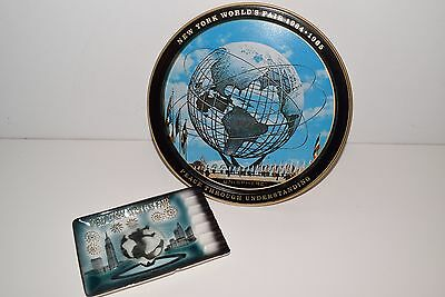 New York Worlds Fair 1964 1965 Unisphere Metal plate and ashtray