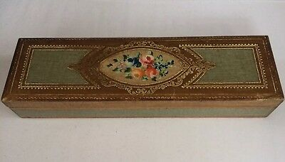 """Vintage GLOVE BOX Made In ITALY Hand Carved - Painted GOLD LEAF """"RARE"""" Toleware"""