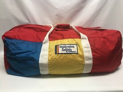 Vintage Motocross Malcolm Smith MXS  Blue Yellow Red White Large Duffle Gear Bag