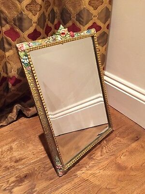 Lrg Barbola 1930's Vintage Antique Mirror Bevelled Easle