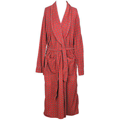 50s Vintage Norwood Cotton Flannel Robe Red PAISLEY Smoking Lounge Jacket Sz M