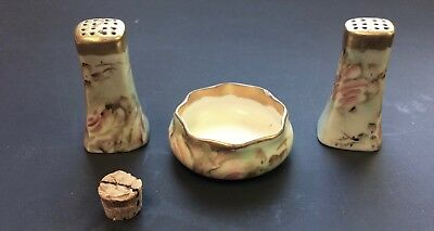 Vintage/Antique Hand Painted Salt Cellar With 2 Pepper Shakers ROSES