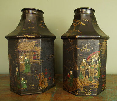 Chinoiserie Regency Tole Tea Canisters