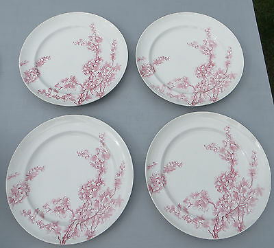 4 Antique/Victorian/Aesthetic George Jones Peach Blow Plates Pink Transfer Ware