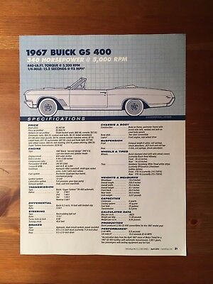 1967 Buick Gs 400 Specification Sheet Magazine Ad