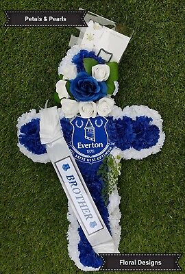 Everton Football Club Artificial Wreath Funeral Flowers Tribute Grave Cross