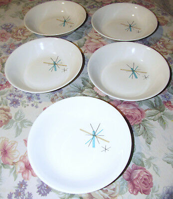 Salem China 7 3/4 Inch Bowls North Star Mcm Atomic Starburst Soup Cereal Serving