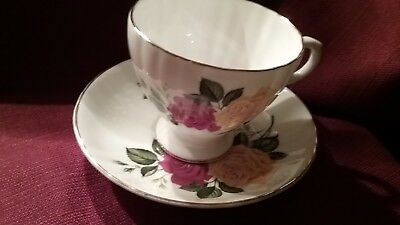 Royal grafton red and yellow rose cup and saucer