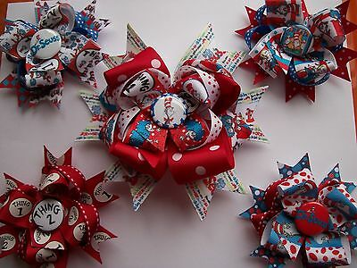 "Thing 1 or Thing 2 Dr Seuss hairbows hair bows 2 ct or Ex large 6"" bow 1 ct"