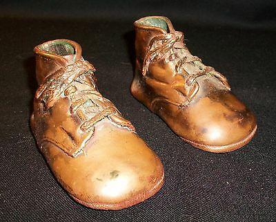 Antique Pair Bronze Baby Shoes Marked #29818 Great Patina Old