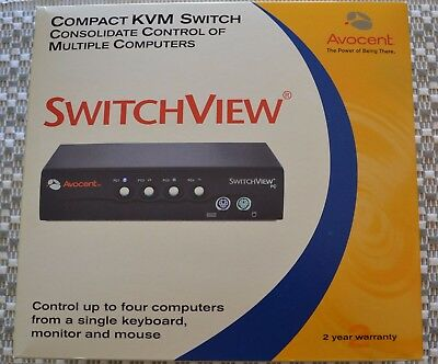 Avocent Switchview SV4BC 4-port KVM switch with cables - HARDLY USED