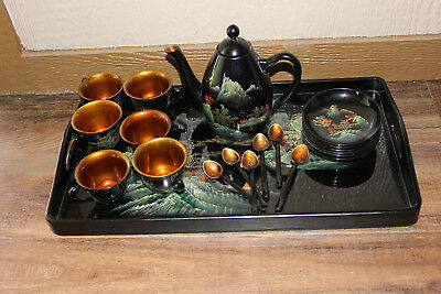 Asian Tea set Black Lacquered Gold decorated Hand painted outdoor scene
