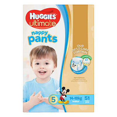 NEW Huggies Ultimate Walkers Nappy Pants for Boys - 51 Pack