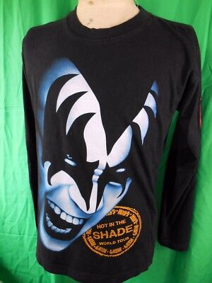 Vintage 1990 Black Cotton Kiss Hot In The Shade Tour Rock Long Sleeve T-shirt M