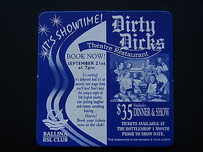 Dirty Dicks Theatre Restaurant $35 Dinner & Show Ballina Rsl Club Coaster