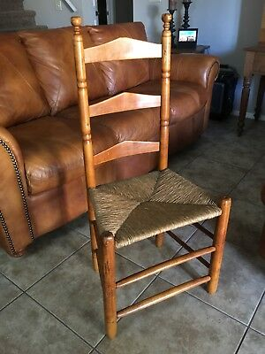 Early AMERICAN Ladder Back Chair RUSH Seat MAPLE Single One 1