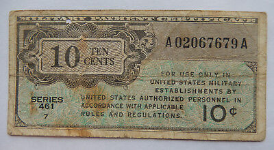 1946 USA 10 Cents Military Payment Certificate, Series 461  SB5258