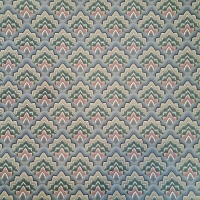 """Vintage Wallpaper 21"""" Wide Partial Roll Fish Scale Scallop Blue Yellow Green"""