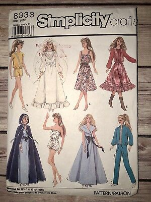 SIMPLICITY CRAFT SEWING Pattern BARBIE DOLL CLOTHES 8797 UNCUT ...