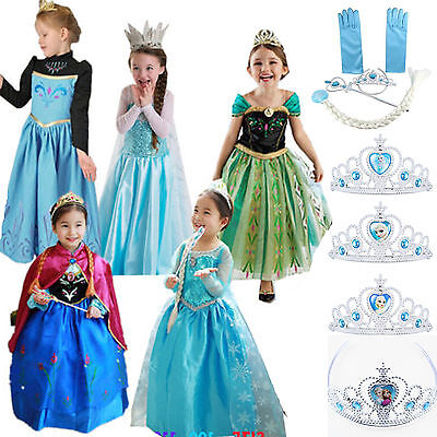 Girls Kids Dress Princess Anna Elsa Frozen Costume Party Dresses Crown Cosplay I