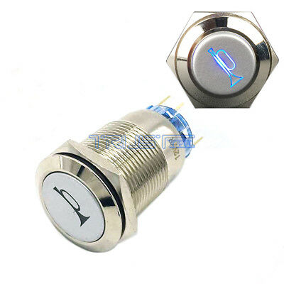 Durable 12V LED 19mm Momentary Blue Car Horn Push Button Toggle Light Switch us