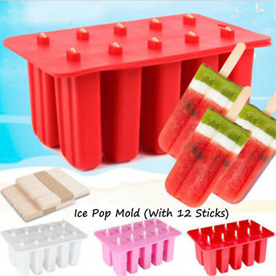10 Frozen Ice Cream Silicone Mold Popsicle Yogurt Icebox Mould 12 Sticks Lid KU