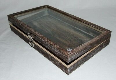 """Large 2 7/8"""" High Mocca Rustic Wood Glass Top Display Case"""