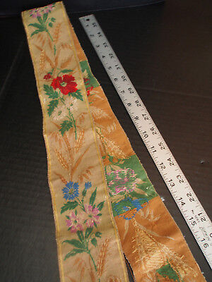 """3x 62"""" Continuous Antique Victorian Hand Embroidery Tapestry Floral Earth Ribbon"""