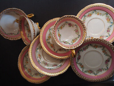 3 Antique Limoges Ovington Pink Hand Paint Garland Bow Swag Foot Tea Cup Saucer