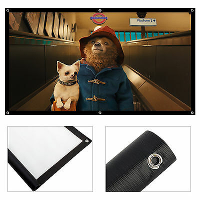 Portable 100'' inch Matte White Fabric Projector Projection Screen Theater UK