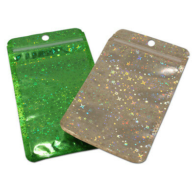 Glittery Clear Zip Lock Hang Hole Plastic Bags Packaging Pouches Reclosable