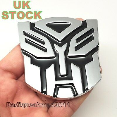 New TRANSFORMERS METAL CAR BADGE AUTOBOT 3D CHROME STICKER EMBLEM DECAL LOGO