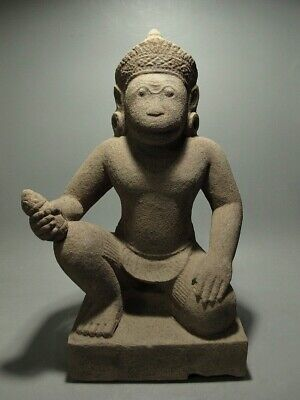 Antique Khmer Sculpture Sandstone Monkey-Headed Guardian Figure, 'banteay Srei'