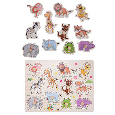 Zoo Animal Wooden Jigsaw Puzzle Toy Children Kids Baby Learning Educational Gift